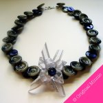 © Original Minnie handmade Buttons and Bows Necklace with grey and purple buttons