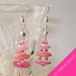 Original-Minnie-handmade-dangle-tiered-button-Earrings-in-pink
