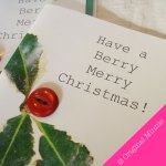 Original Minnie Hand finished Have a Berry Merry Christmas card with button