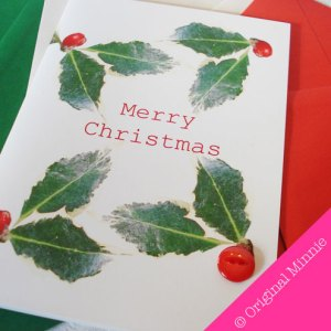 Original Minnie Hand finished Merry Christmas card with holly berry button