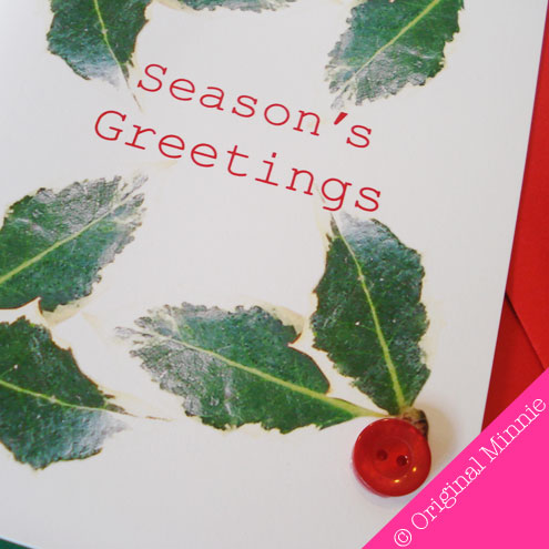 Original Minnie Hand finished Season's Greetings Christmas card with button