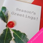 Original Minnie Hand finished Seasons Greetings Christmas card with button