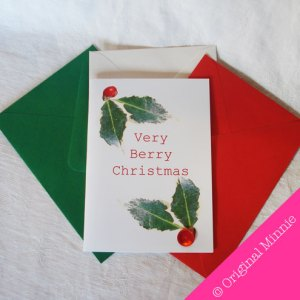 Original Minnie Hand finished Very Berry Christmas Card with button