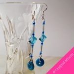 Original Minnie handmade dangle blue and turquoise beads with turquoise button, sterling silver hooks