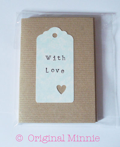 Original Minnie Hand stamped WITH LOVE Notepad made from recycled card and paper