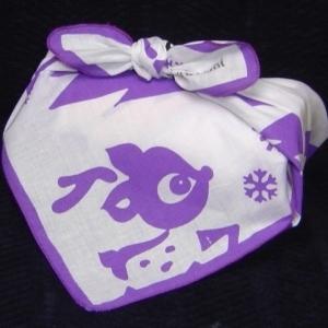 Myfuroshiki Purple reindeer wrap scarf