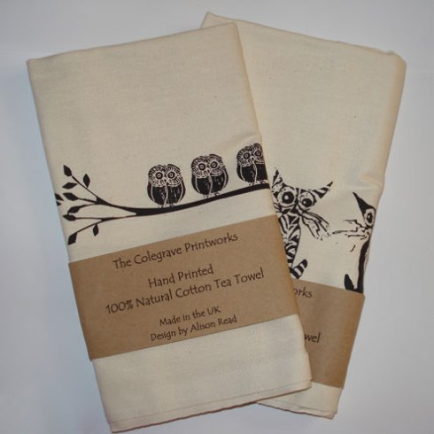 What I found handmade at Belton Xmas Market printed tea towels by The Colegrave Printworks