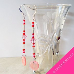 Original Minnie © Handmade pink bead and button earrings made with sterling silver hooks