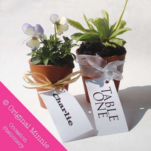 Original minnie wedding and occasion stationery 2011 original minnie handmade wedding and occasion stationery favour plant pot name place label and table number tagg solutioingenieria Choice Image