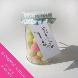 Original Minnie © Handmade Wedding and Occasion Stationery Favour sweet jar label and cover