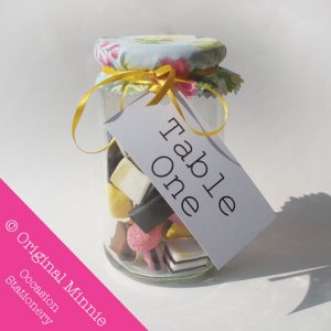 Original Minnie © Handmade Wedding and Occasion Stationery Favour sweet jar table number label with cover and ribbon
