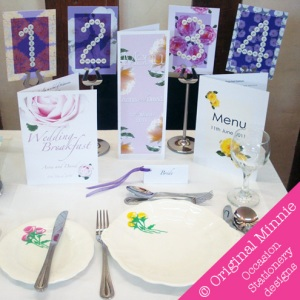 © Original Minnie handmade Wedding and Special Occasion Stationery table setting with menu, button table number, and hand painted crockery