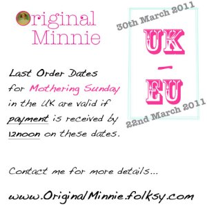 © Original Minnie Last Postage dates for Mothering Sunday 2011