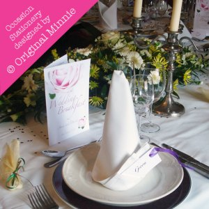 © Original Minnie Wedding and Special Occasion Stationery = Groom place setting name card and menu