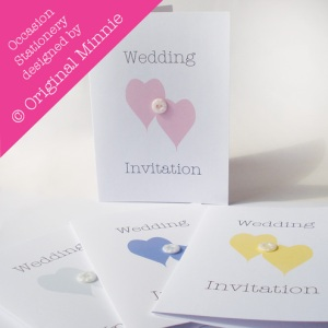 Original Minnie © Wedding and Occasion Stationery 2011 - Designed and made in Lincolnshire. Wedding Invitations with vintage button from my Double Heart range
