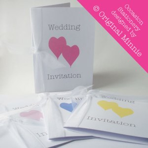Original Minnie © Wedding and Occasion Stationery 2011 - Designed and made in Lincolnshire. Wedding Invitations with ribbon from my Double Heart range