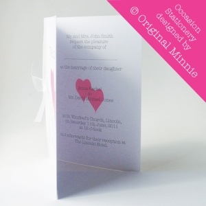 Original Minnie © Wedding and Occasion Stationery 2011 - Designed and made in Lincolnshire. Wedding Invitations inside from my Double Heart range