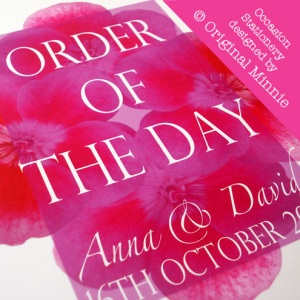Original Minnie © Wedding and Occasion Stationery 2011 - Order of The Day Impeccable Pansies range