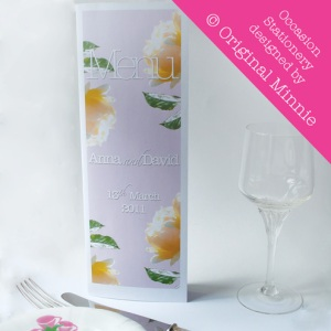 Original Minnie © Wedding and Occasion Stationery 2011 - Menu Luminous Rose range