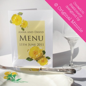 Original Minnie © Wedding and Occasion Stationery 2011 - Menu Sunshine Yellow Rose range