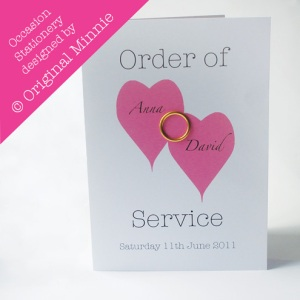 Original Minnie © Wedding and Occasion Stationery 2011 - Designed and made in Lincolnshire. Order of Service with ring from my Double Heart range
